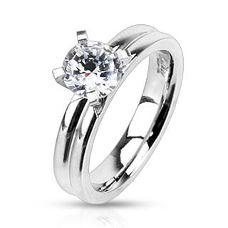Bague femme acier à anneaux accolés et pierre ronde