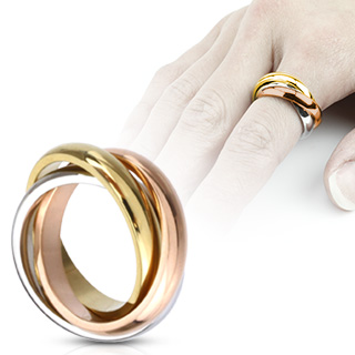 Bague femme acier à anneaux mêlés tricolores