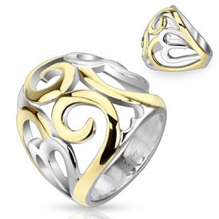 Bague femme acier ajourée à spirales argentées et dorées