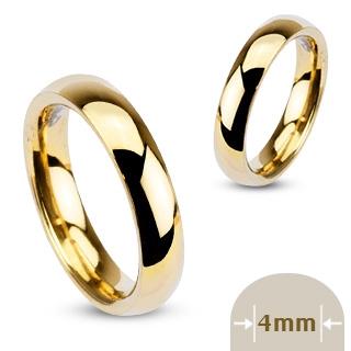 Bague femme acier anneau doré fin