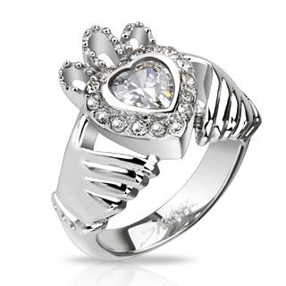 Achat bague femme acier avec mains et coeur couronn pas cher for Coeur couronne et miroir