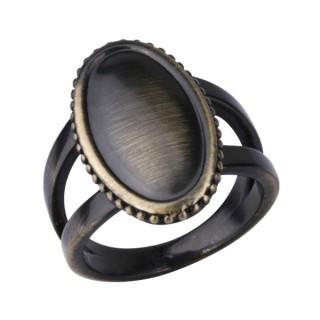 Bague femme acier cuivré anneau double à face ovale