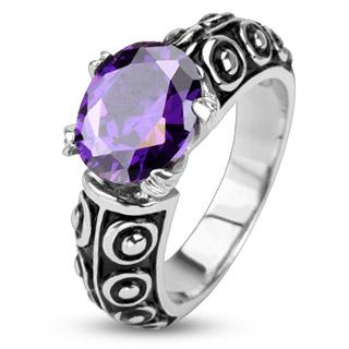 Bague femme acier style antique à pierre violette
