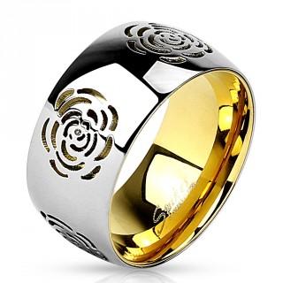 Bague femme dorée en acier à bandeau argenté avec fleurs gravées