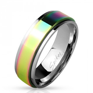 Bague mixte en acier avec anneau anti-stress teinté arc en ciel