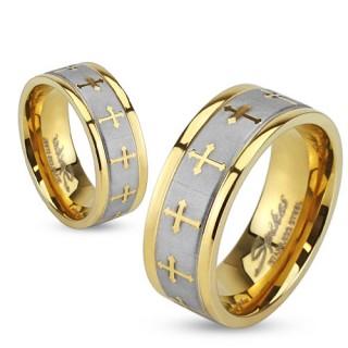 Bague mixte en acier doré à bandeau argenté avec croix