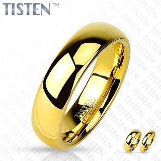 Bague mixte style alliance en Tisten doré par ionisation et poli miroir