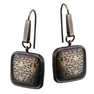 Boucles d'oreilles acier cuivré carré arrondie à reliefs