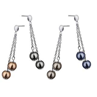 Boucles d'oreilles acier double pendant de perle et chainette