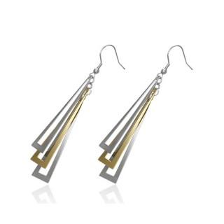 Boucles d'oreilles acier pendantes à longs rectangles ajourés