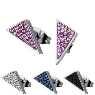Boucles d'oreilles acier triangle pavé de pierres
