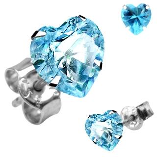 Boucles d'oreilles argent à coeur bleu