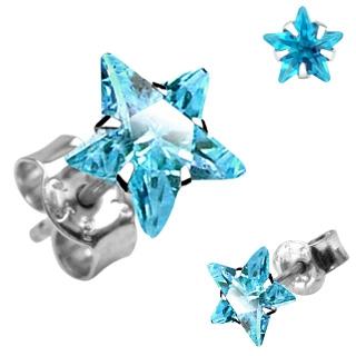 Boucles d'oreilles argent à étoile bleu