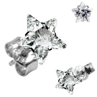 Boucles d'oreilles argent à étoile claire