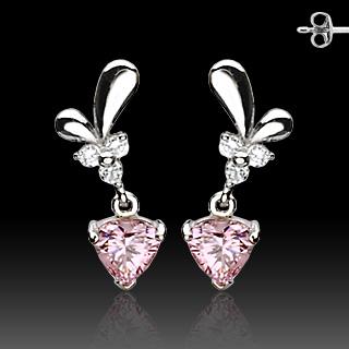 Boucles d'oreilles argent à pendants coeurs roses sertis