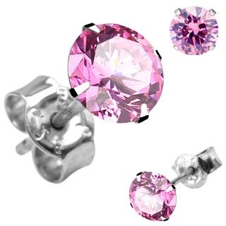 Boucles d'oreilles argent à rond rose