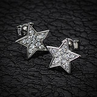 Boucles d'oreilles argent étoiles serties