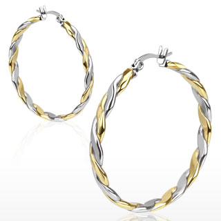 Boucles d'oreilles créoles à spirale dorée et argentée