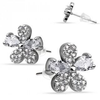 Boucles d'oreilles en argent 925 avec fleur à pétales multi-strass