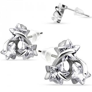 Boucles d'oreilles en argent 925 avec trio d'étoiles