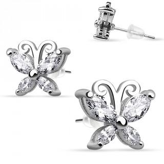 Boucles d'oreilles papillon strass en argent 925