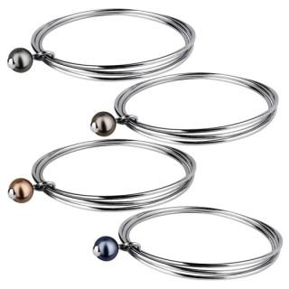 Bracelet à trois anneaux d'acier et perle