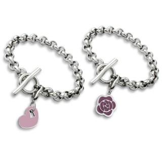 Bracelet acier à anneaux serrés avec pendentif