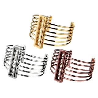 Bracelet acier modulable à ligne parallèles