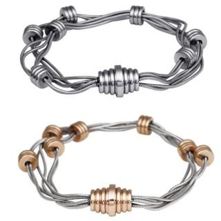 Bracelet acier style étectrique à fils et bobines