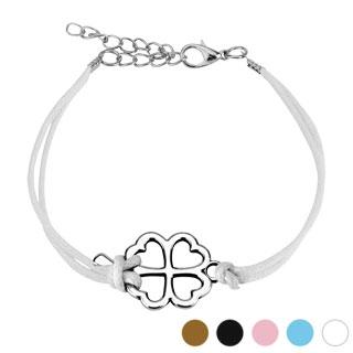 Bracelet fantaisie en similicuir avec trèfle à 4 feuilles