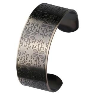 Bracelet femme acier cuivré rigide à reliefs