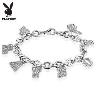 Bracelet femme en acier argenté avec charm's lettres et lapin Playboy