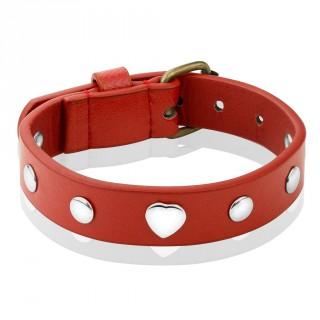 Bracelet femme en cuir rouge à coeurs et rivets métal