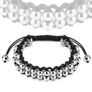 Bracelet mixte en corde avec perles en acier argentées