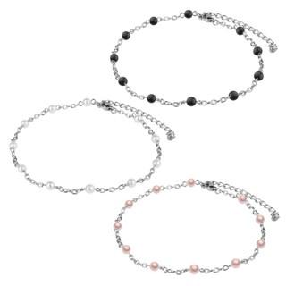 Chaine de cheville à mailles acier et perles