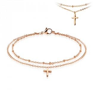 Chaine de cheville double en acier cuivré avec pendentif croix