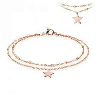 Chaine de cheville double en acier cuivré avec pendentif étoile