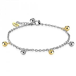 Chaine de cheville en acier à coeur et perles argentées et dorées