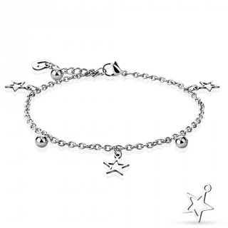 Chaine de cheville en acier à perles et charm's en étoiles