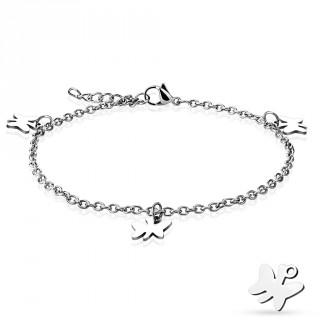 Chaine de cheville en acier à perles et charm's en papillons