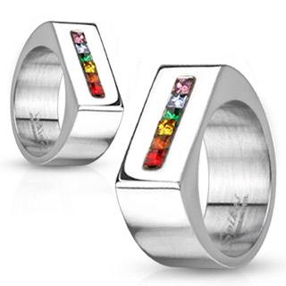 Chevalière mixte acier à bandeau de pierres multicolore