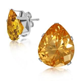 Clous d'oreilles argentés à pierres ambrées en gouttes