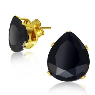 Clous d'oreilles dorés à pierres noires en gouttes
