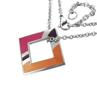 Collier acier chaine et pendentif carré multicolore