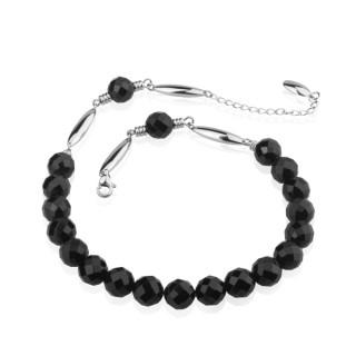 Collier acier court à perles d'onyx facettées
