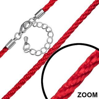 Cordon tressé rouge en nylon à attache mousqueton - 48cm