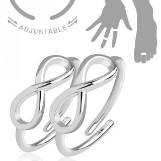 """Paire de bagues ajustables en laiton avec signe """"infini"""" pour orteil ou doigt"""