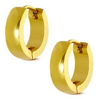Paire de boucles d'oreilles anneaux bombés dorés en acier