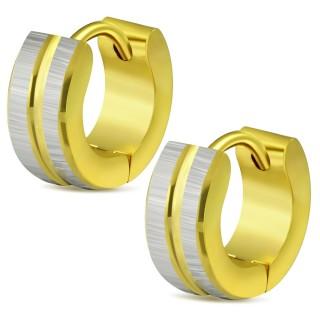 Paire de mini boucles d'oreilles dorées en acier à bandes gris brossé