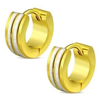 Paire de mini boucles d'oreilles dorées en acier à fines bandes gris brossé